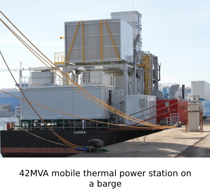 42MVA mobile thermal power station on a barge