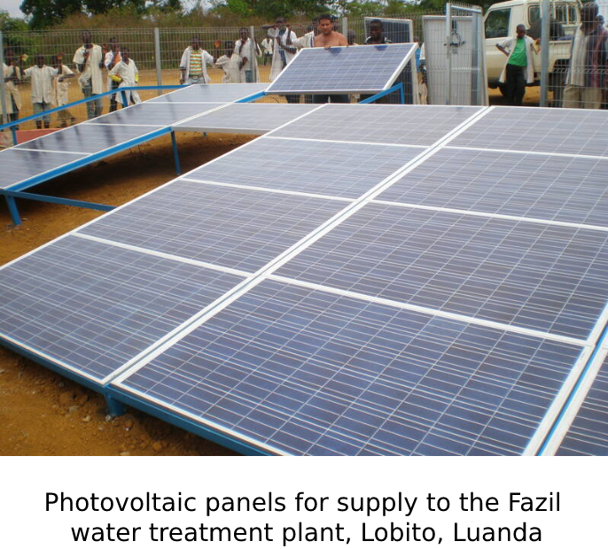Photovoltaic panels for supply to the Fazil water treatment plant, Lobito, Luanda