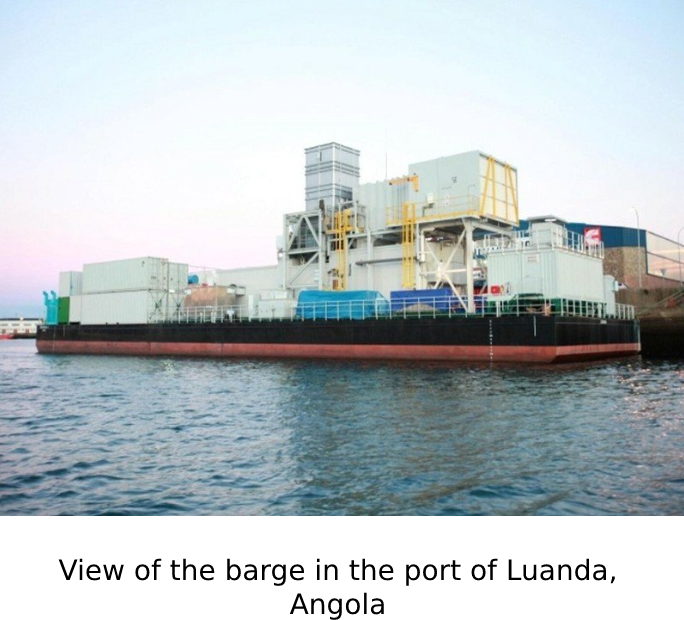 View of the barge in the port of Luanda, Angola