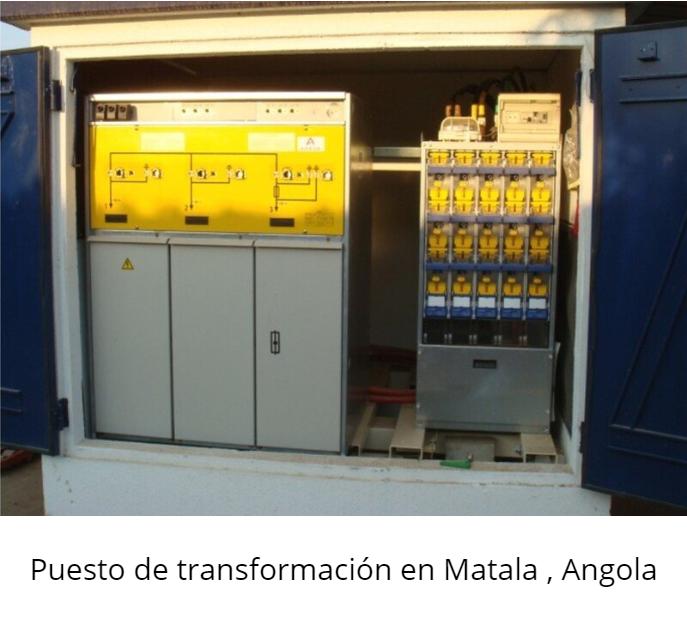 Puesto de transformación en Matala, Angola