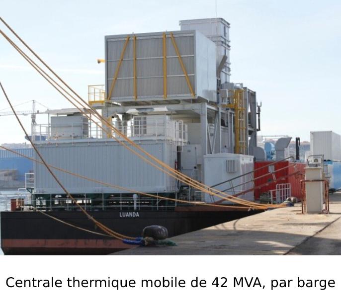 Centrale thermique mobile de 42 MVA, par barge