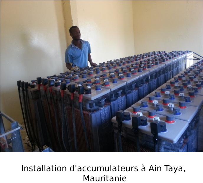 Installation d'accumulateurs à Ain Taya, Mauritanie