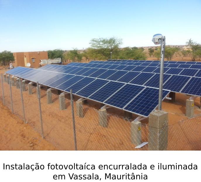 Instalação fotovoltaíca encurralada e iluminada em Vassala, Mauritânia